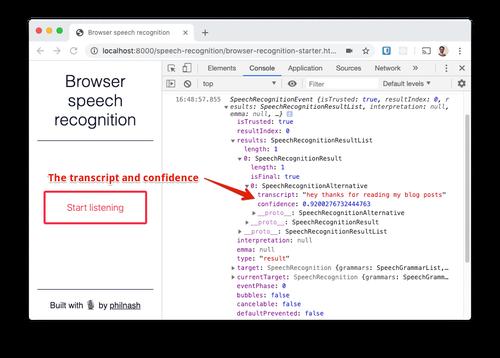 In Dev-Tools können wir in SpeechRecognitionEvent das Transkript und den Zuverlässigkeitswert finden.