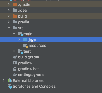project directory for the java subfolder