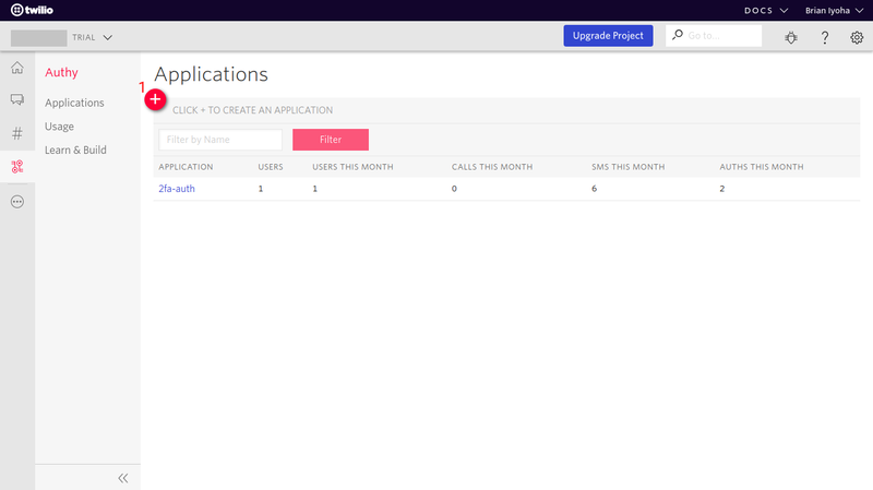 Twilio Authy Dashboard