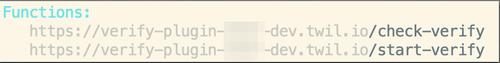 Screenshot of deployed function URLs