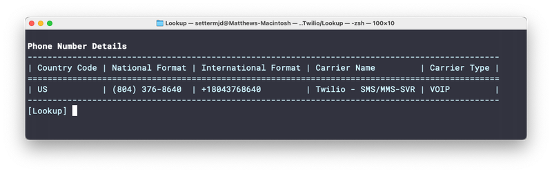 The phone number information rendered to the terminal in a nice looking table.