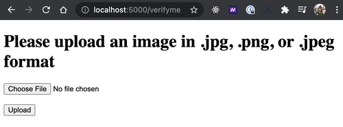 localhost page saying please upload an image in .jpg, .png, or .jpeg format