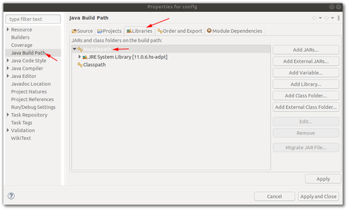 Screenshot of an Eclipse Project configuration, highlighting the sections described in the text: Java Build Path, Libraries, and ModulePath