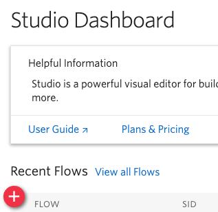 Studio dashboard in the Twilio Console menu