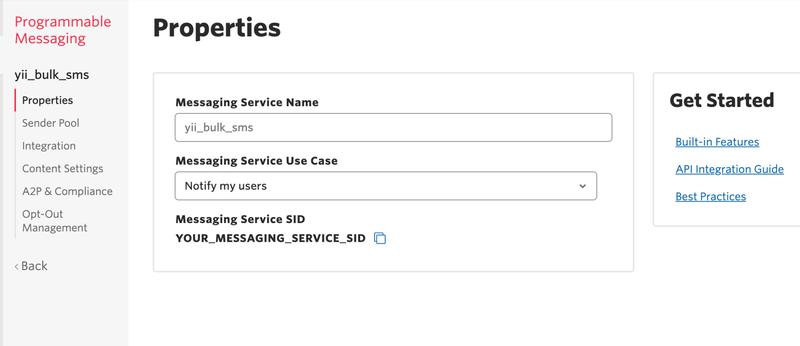 Programming Messaging Service Properties