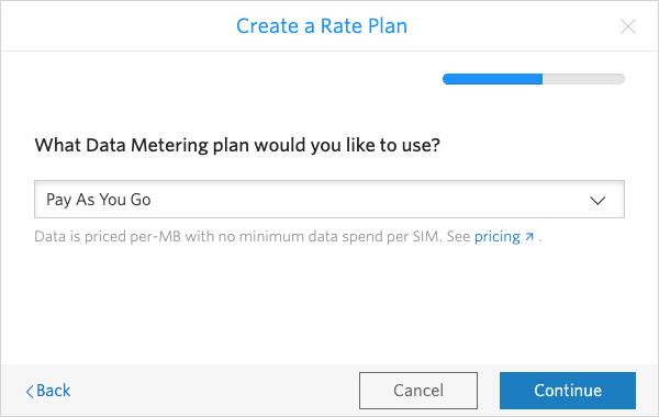 Select your SIM Data Metering plan