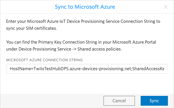 Enter your primary key connection string