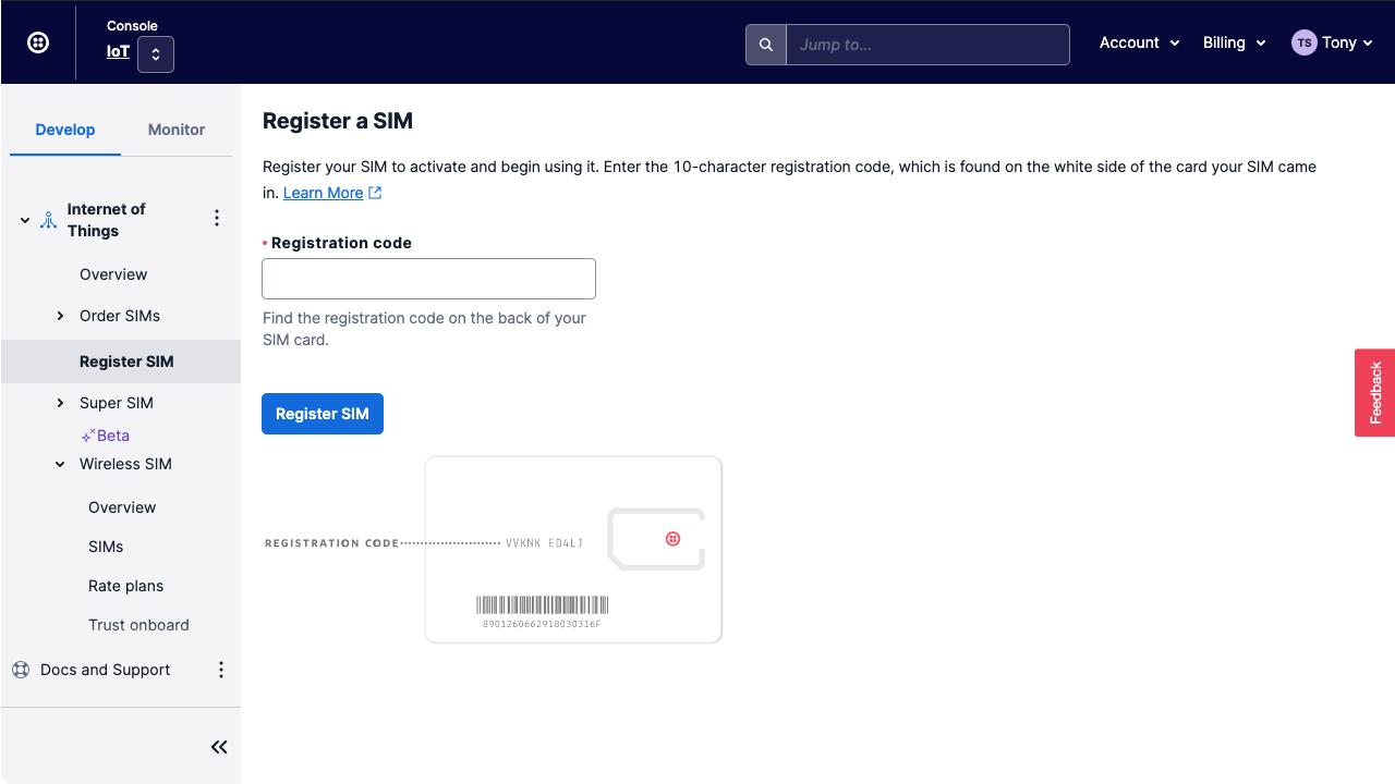 Enter the SIM's registration code