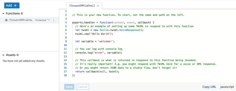 Setting the path for a Twilio Function