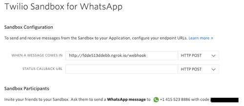 screenshot of ngrok URL inside the text field for the Twilio WhatsApp sandbox