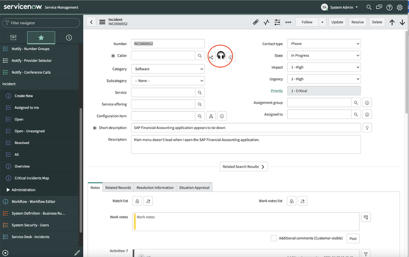 A screenshot showing the Incident detail page of the ServiceNow dashboard