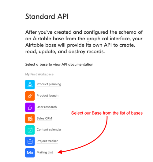Airtable API page