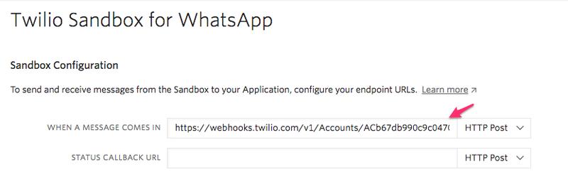Configuração do webhook da sandbox do WhatsApp