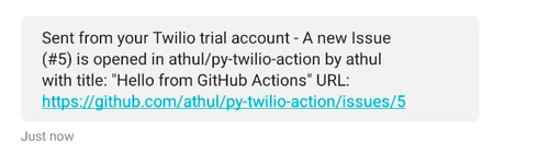 sms sent by github action