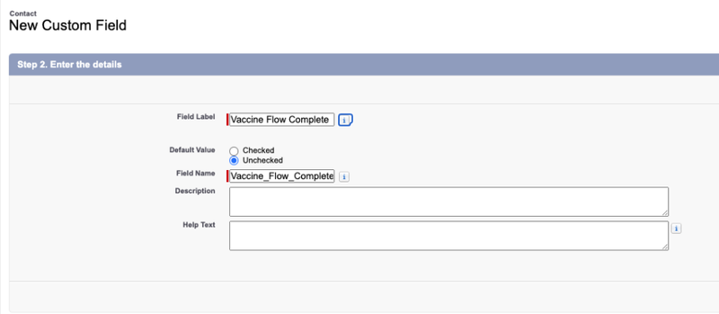 Screenshot showing new custom field being created.