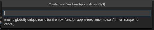enter name for azure function