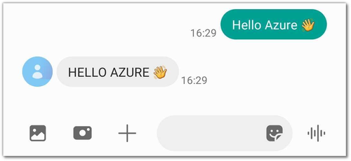 """Screenshot of the android messaging app showing an outgoing SMS saying """"Hello Azure"""" and getting the same text as a response, but in all-caps."""