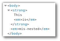 Screenshot of Firefox's developer tools showing how the mis-nested HTML is represented in the DOM