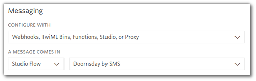 "Screenshot: Phone number configuration. ""When a message comes in"" is configured to run a Studio Flow called ""Doomsday by SMS"""