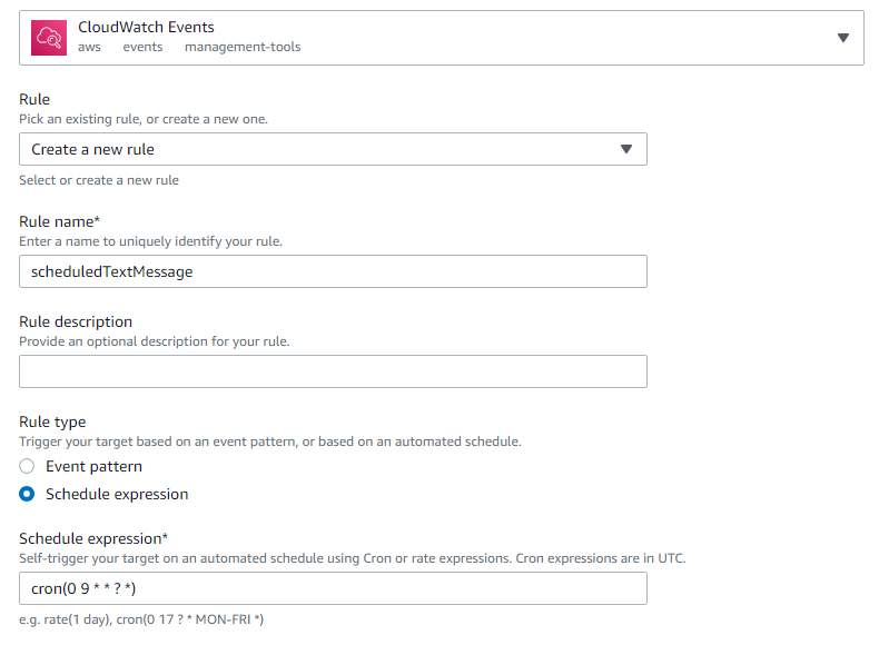 CloudWatch events screenshot with cron setting