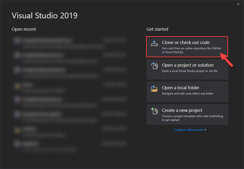 Visual Studio 2019 launch window screenshot