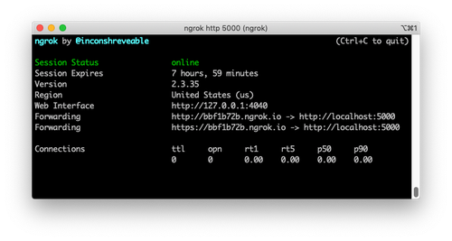 ngrok flask server running