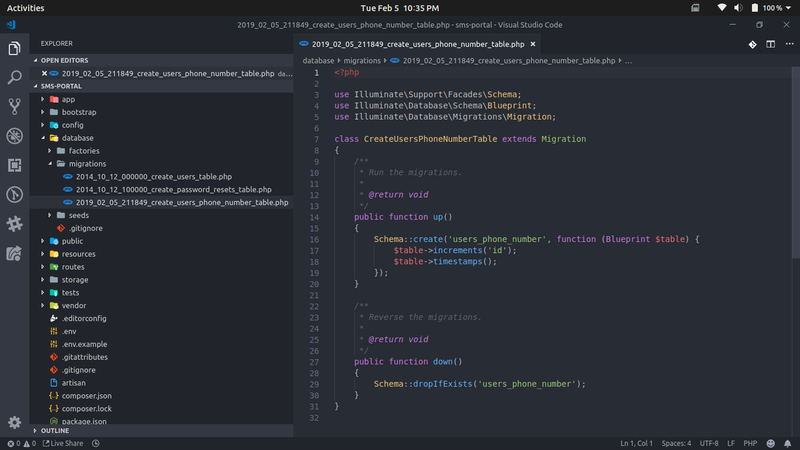 Creating a migration in the IDE