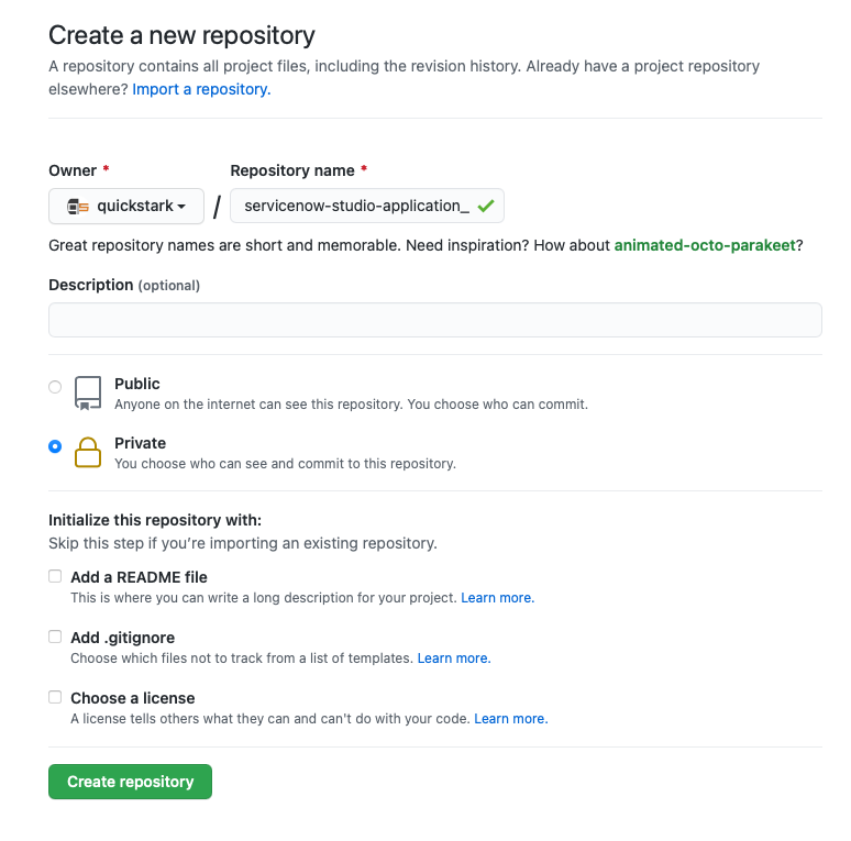 """A screenshot of the """"Create a New Repository"""" page in GitHub"""