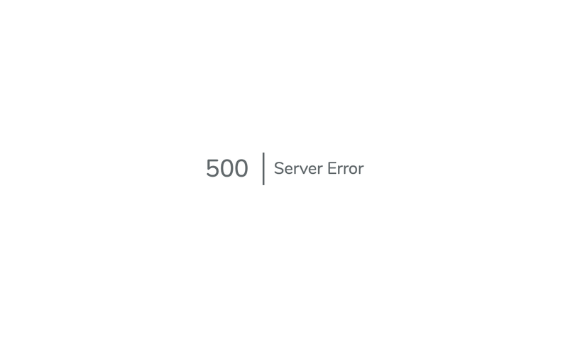 "Screenshot of a minimalist error page reading ""500   Server Error"""