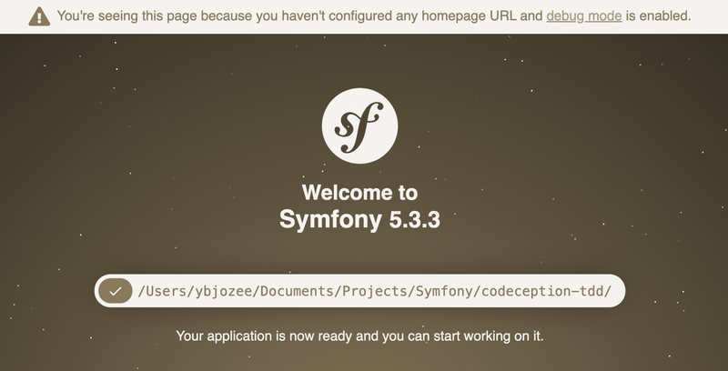 The default Symfony home page