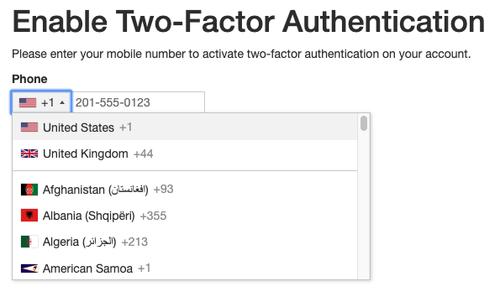 Phone number input screenshot