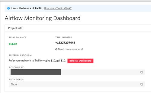 Twilio dashboard