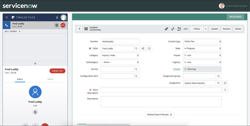 A screenshot of the Twilio Flex UI within the ServiceNow dashboard showing a new incident