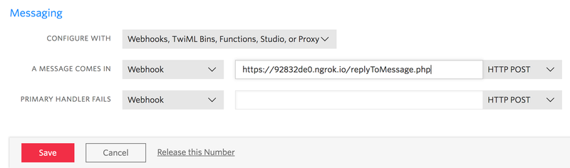 Twilio Phone Number Config for Incoming Messages PHP Webhook