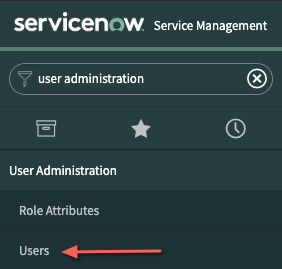 A screenshot of the User Administration navigation bar in the ServiceNow dashboard