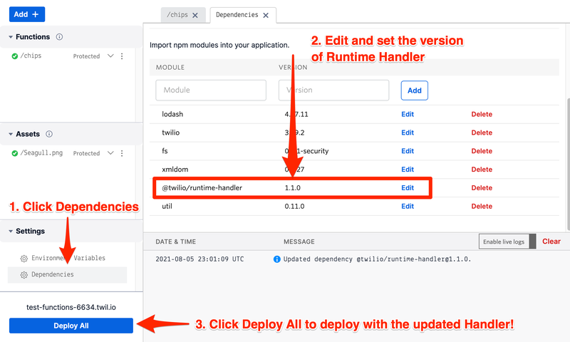 Set Runtime Handler version in dependencies.png