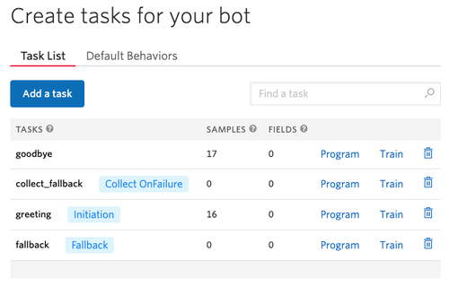 Create tasks for your bot