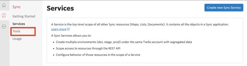 Open the Sync Tools menu