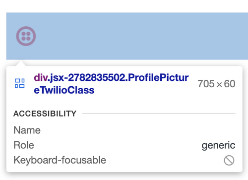 screenshot of the inspected data on the HTML page for the ProfilePicture wrapper div