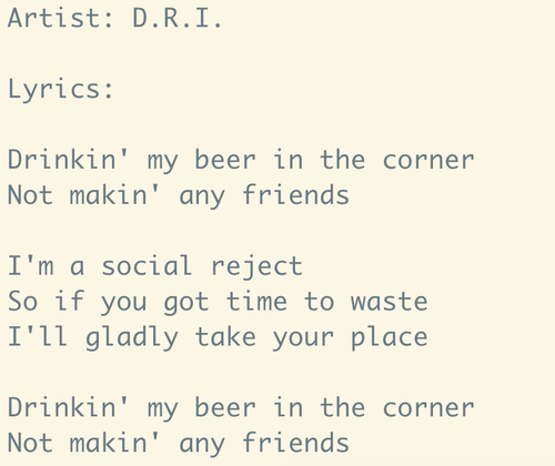 Computer-generated D.R.I. song