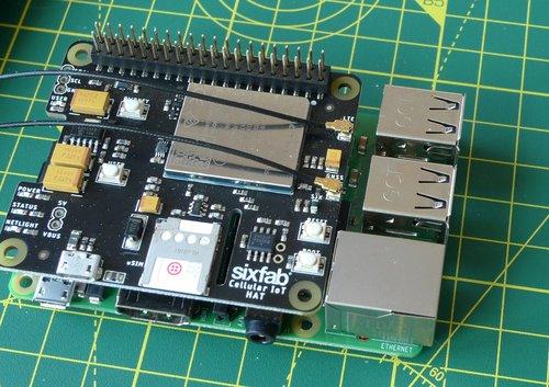 A SixFab Cellular IoT Hat for Raspberry Pi, with a Twilio Super SIM