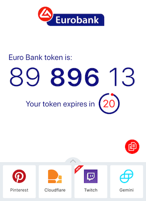 screenshot from Authy, an authentication app, showing a TOTP token for Eurobank that expires in 20 seconds.