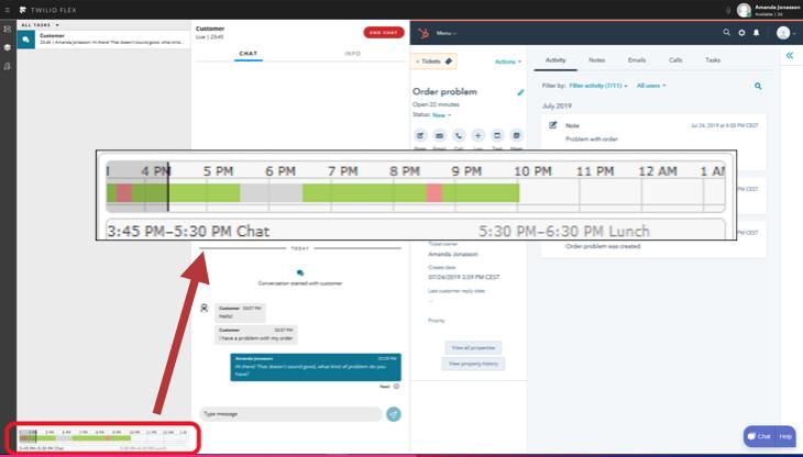 Twilio Flex Agent View with their daily schedule