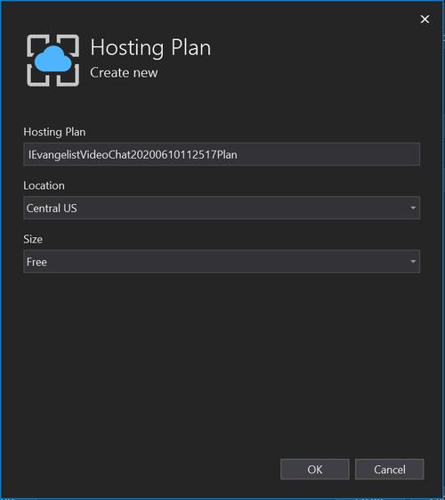 Visual Studio 2019 Hosting Plan window screenshot