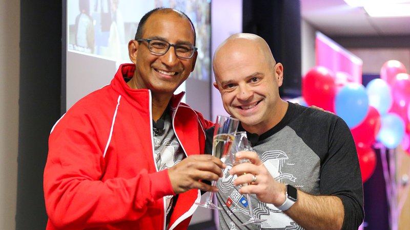 Sameer and Jeff toast Twilio SendGrid Day One