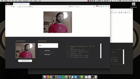 Successfully sharing a screen from one video chat to another and then back again using Firefox and Chrome