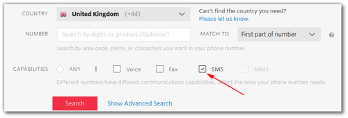 Screenshot: selecting a phone number, with the SMS capability highlighted