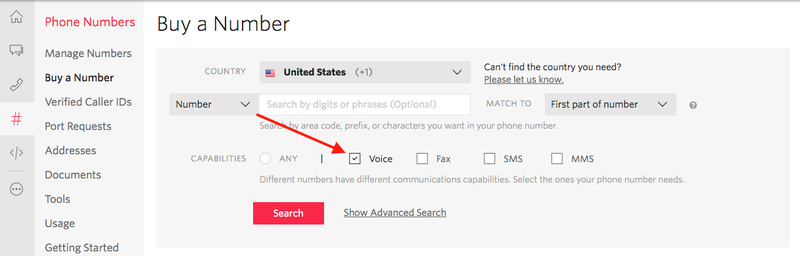 Search for a voice-enabled phone number