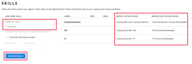 Setting Skills in a Flex Contact Center