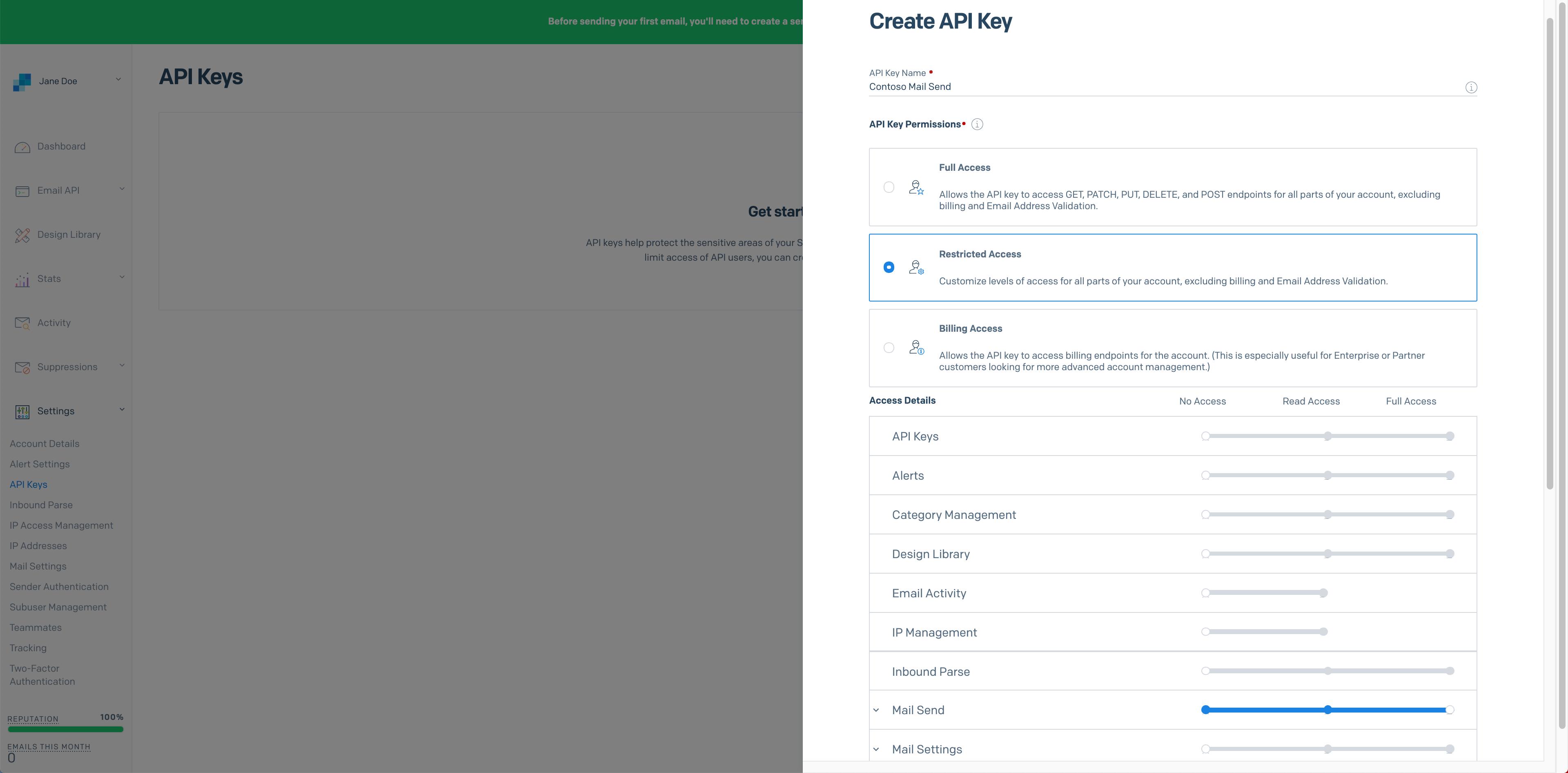 A modal where you can name configure and configure an API key
